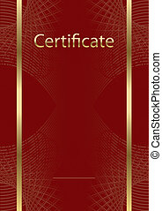 certificat, modèle, red/gold