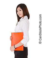 Young business woman of Asian holding a red document file,...