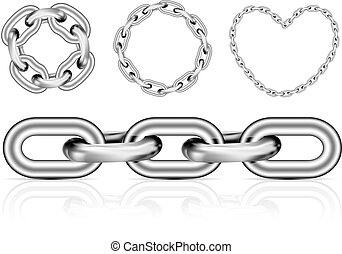 Collection of metal chain parts