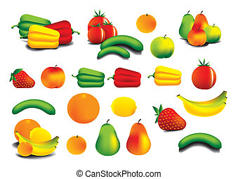 Icons of vegetables and fruit - colourfull illustration
