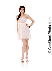 Elegant Asian beauty, full length portrait isolated on white...