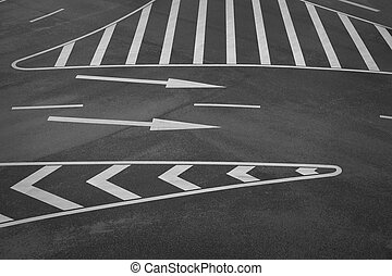 Road markings - road markings and arrow signs on asphalt