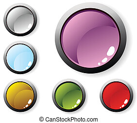glossy buttons - Vector illustration of six glossy buttons...