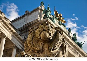stone lion guard - stone lion sculpture guarding viennas...