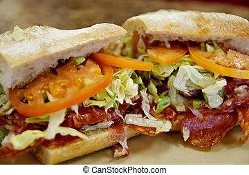 Fresh Italian Submarine Sandwich - A fresh italian sub...