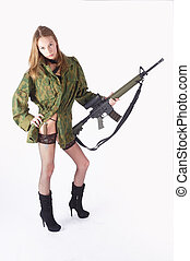 Pretty girl with rifle