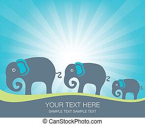 Elephant family. - Elephant family at sunrise or sunset.