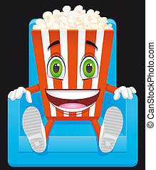 Popcorn mascot - Isolated illustration Popcorn mascot on...