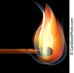burning match - on a black background is a big burning match