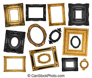 Vintage ornate frames - isolated on white