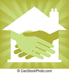 House handshake concept - Green property or real estate...