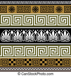 Set of greek borders - Collection of colorful greek old...