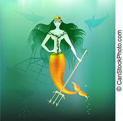maiden mermaid - in the depths of the sea is a beautiful...
