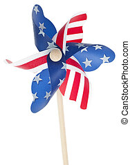 Patriotic Red White and Blie Pinwheel with Stars and Stripes...
