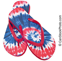 Tie Dye Flip Flop Sandals - Patriotic Red, White and Blue...