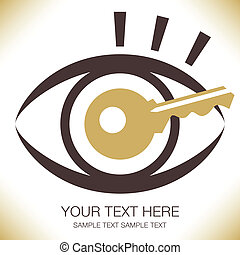 Striking key eye design - Striking key eye design with text...