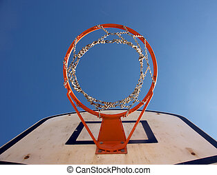 Basketball hoop seen from right under