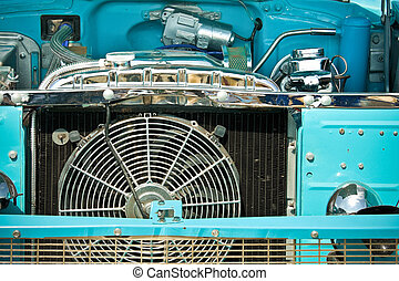 radiator grille - engine bay and radiator grille of an old...