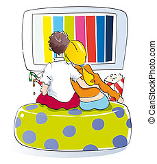 Young couple watching tv