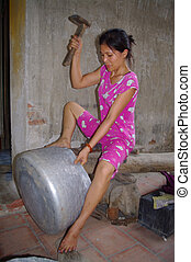 Woman boilermaker - The woman insists that huge aluminum pot...