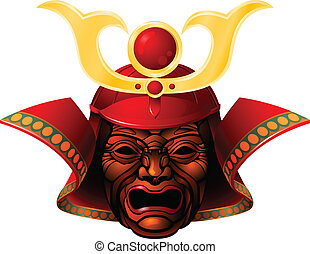Fearsome samurai mask - An illustration of a fearsome red...