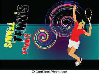 Tennis player poster Colored Vector illustration for...