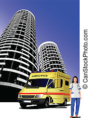 Ambulance and medical nurse on city background. Vector...