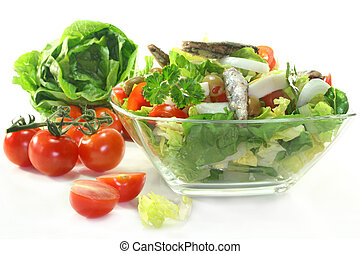 Chef salad - a chef's salad bowl on white background