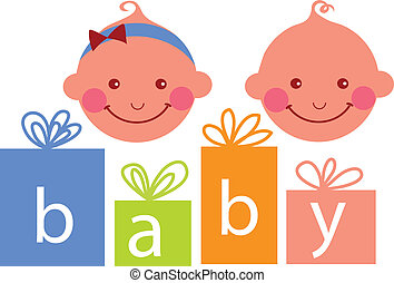 baby boy and baby girl , vector illustration