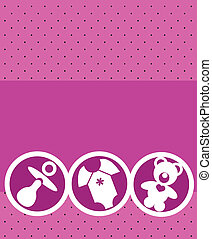 newborn baby girl card with baby accessories , vector...