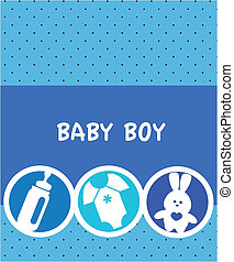 newborn baby boy card with baby accessories