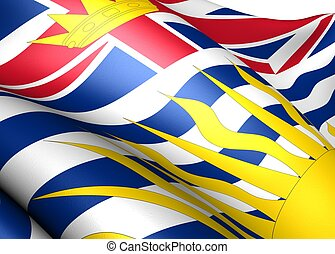 Flag of British Columbia. Close up.