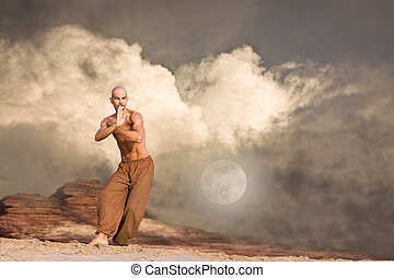 Martial Arts Background - Martial Arts in Front of Rocks and...