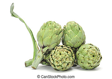 artichokes - a pile of artichokes isolated on a white...