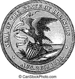 Great Seal of the State of Illinois  USA vintage engraving