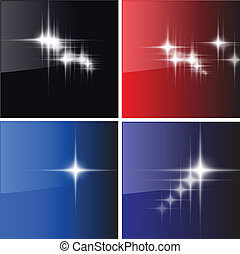 stars backgrounds - Glowing stars, suns backgrounds set,...