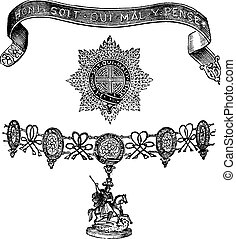 Insignia of the Order of the Garter vintage engraving -...