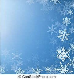 Winter background frozen with snowflakes, vector