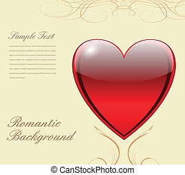 Love background with heart, vector.