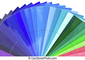 Blue color tones - Green to blue color chart scale isolated...
