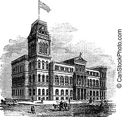 Louisville City Hall in Louisville Kentucky United States vintage engraving