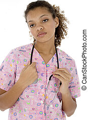 Exhausted Young Black Nurse in Scrubs over White -...