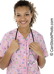 Attractive Young Black Nurse Smiling Over White - Attractive...