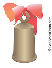 Hand bell with a bow - Illustration of a hand bell with a...