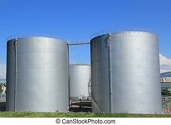 Oil tanks at Vernier, Genva, Switzerland - Big grey oil...