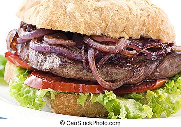 filete, hamburguesa