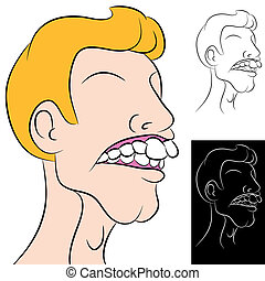 Man With Overbite - An image of a man with a dental overbite...
