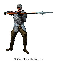 Armoured Spearman, medieval soldier at the ready, 3D render...