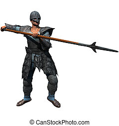Armored Spearman - Armoured Spearman, medieval soldier at...