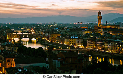 Ponte Vechio - Night view over Florence, in Italy